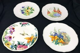 "Lot 4 Lenox Floral Meadows 9"" Salad Luncheon Accent Plate Scalloped Gree... - $49.49"