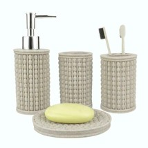 Jyxr 4 Piece Bathroom Accessories Set, Weave Style Bath Ensemble, Resin ... - $16.46
