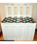 wooden hand painted toy box bench white amazing pattern - $49.49