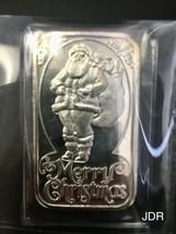 Rare Limited SILVER 1 Oz Bar Merry Christmas Santa Claus .999 Fine Silver - $56.75