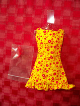 Vintage 1969 Barbie Pak Fashion SUN-SHINER Yellow & Red Dress Used - $45.00