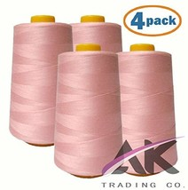 AK Trading 4-Pack Pink All Purpose Sewing Thread Cones 6000 Yards Each o... - $21.60