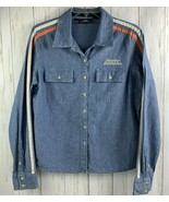 Harley Davidson Womens Sz L Denim Button Front Embroidered Long Sleeve S... - $25.73