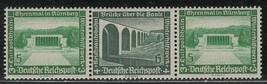 1936 Modern Buildings Strip of 3 Germany Postage Stamps Catalog Mi W120 MNH