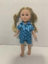 """My Life As Sleepover Host MINI 7.5"""" doll blond hair blue eyes polka dot pajamas - $9.89"""