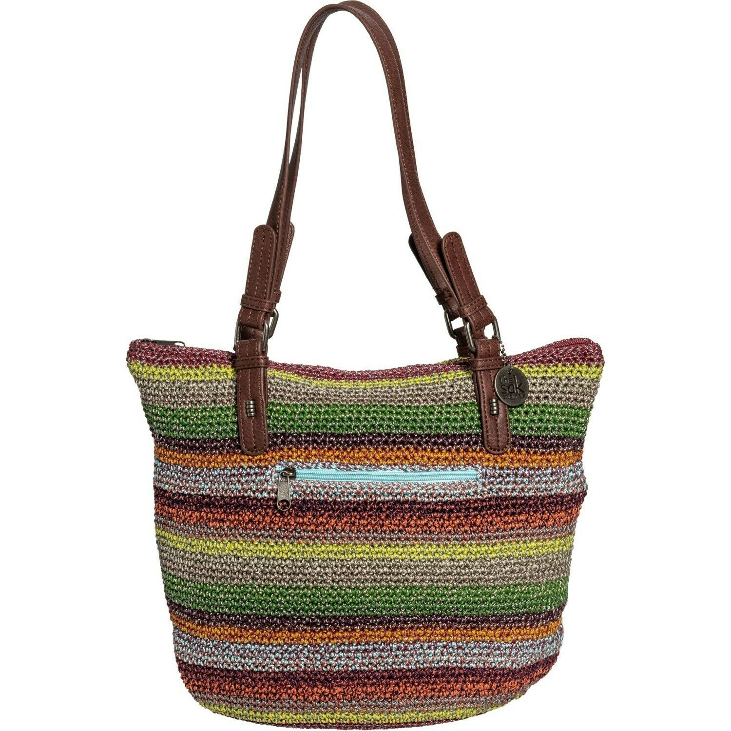 The Sak Crochet Alpine Zip Tote Bag (Style 108172) with Brown Leather Straps - $28.71