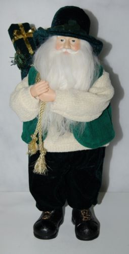 American Silkflower S11693 Irish Santa Holding Green Bag Presents 16 Inches