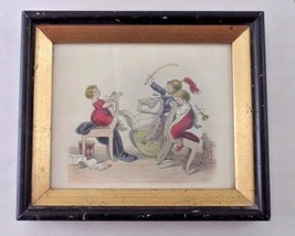 1960s Framed Victorian Tinted Print Children at Play Rocking Horse War G... - $8.86