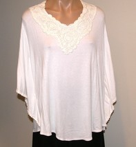 PLUS SIZE 3X MOA MOA WOMAN-IVORY PANCHO STYLE TOP WITH CROCHET V-NECK-NW... - £14.58 GBP