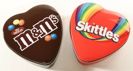 """Lot of 2 M&M & Skittles EMPTY Heart Shaped Tins Small 3.75"""" No Candy 2019 - $6.24"""