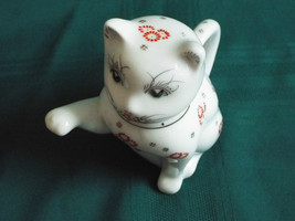 Adorable painted face red & white porcelain cat... - $24.99