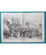 RUSSIA St. Petersburg Butter Week Festival Maslenitsa - 1880s Old Print - $25.20
