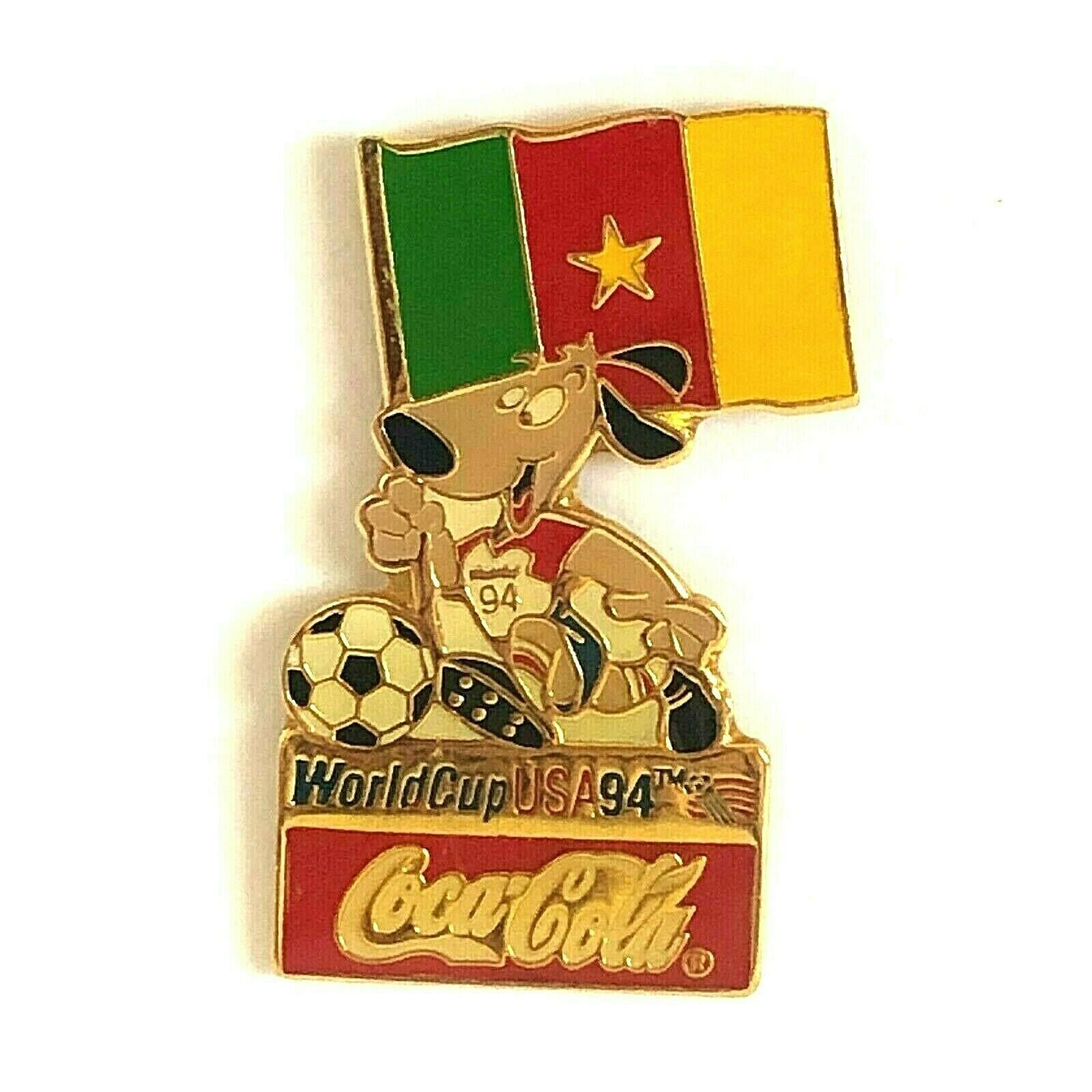Coca Cola Cameroon World Cup Flag 1994 Lapel Pin Striker the Dog Soccer Ball - $13.99