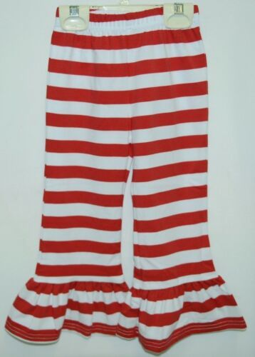 Blanks Boutique Girls Red White Stripe Ruffle Pants Size 2T