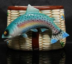Vintage Fishing Creel West Pac Ceramic Porcelain Planter Rainbow Trout 5... - $50.45 CAD