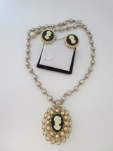 Vintage Coro Cameo screw back earrings faux pearl necklace - $29.65