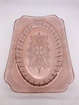 """J EAN Nette Glass Co. Adam Pink 11-5/8"""" X 7-5/8"""" Rectangular Serving Platter 1022A - $24.70"""