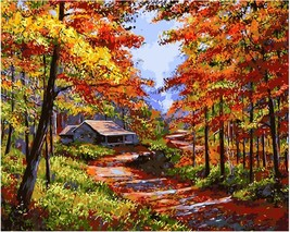 "Autumn Forest 16X20"" Paint By Number Kit DIY Acrylic Painting on Canvas ... - $8.90"