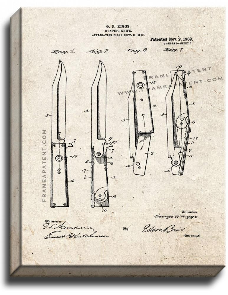 Primary image for Hunting Knife Patent Print Old Look on Canvas