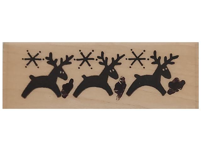 Stampendous 1991 Reindeer Border Wood Mounted Rubber Stamp #K07