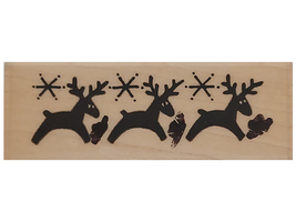 Stampendous 1991 Reindeer Border Wood Mounted Rubber Stamp #K07 - $2.99