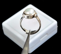 23.99 Ct Certified Round Natural White Pearl Gemstone Astrological Ring ... - £19.36 GBP