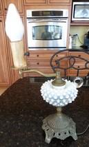 Vintage hand blown white glass HOBNAIL BRASS Electric hurricane Lamp lan... - $75.00