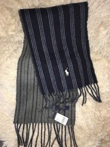 POLO RALPH LAUREN Men wool reversible scarf Stripe 433 NEW - $31.20