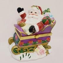 "Santa Sleigh Trinket Box Christmas 5"" Ceramic 2003 Home for the Holidays  - $14.99"