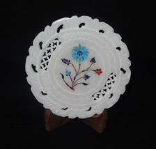 """5"""" White Marble Plate Marquetry Turquoise Handmade Pietra Dura Inlay Dec... - $32.43"""