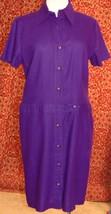 R & K ORIGINALS VINTAGE 80's purple button shirt dress M L (T11-0DH8G)* - $20.77