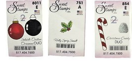 Sweet Stamps, Set of 3, Holly Spring, Solid & Outline Ornament Duo, Candy Duo