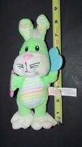 Munchkin Green pastel striped tummy Baby Bunny Rabbit Plush Rattle Teeth... - $9.99