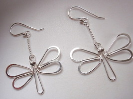 Butterfly on Chain Earrings 925 Sterling Silver Dangle Corona Sun Jewelry - $16.82