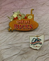 Lot of 2 Ohio Trading Pin Hat Lapel Ohio Rocks State Bicentennial - $12.99