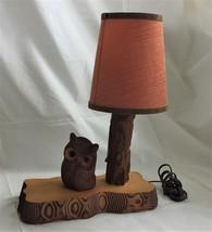 vintage Wood Hand Carved OWL TABLE LAMP electric figural Kadian Crafts C... - $84.95