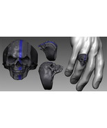 Patriot Skull USA Flag Police Thin Blue Line Ring Stainless Steel Heavy Metal - $15.00