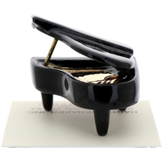 Hagen-Renaker Miniature Ceramic Dollhouse Black Baby Grand Piano image 3