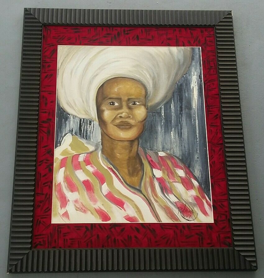 Primary image for 2007 Signed Ribera Untitled/ African Caribbean Woman Portrait Art Painting