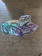 "24"" Purple Green HOT ROD Car 3d engine cutout USA STEEL plate display ad Sign - $68.60"