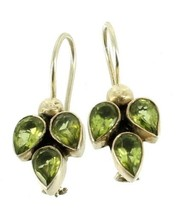 Vintage Sterling Silver Pear Shape .69cts Green Amethyst French Wire Ear... - $44.99
