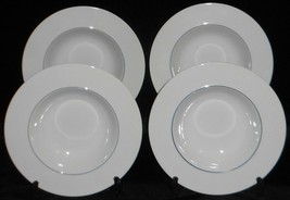 Set (4) Crate & Barrel EPOCH BLUE LINE PATTERN Rimmed Soup Bowls KATHLEE... - $31.67