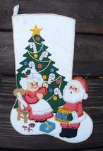 Handmade FINISHED Bucilla  SANTA at HOME -  Christmas Felt Applique Holiday Stoc - $149.97