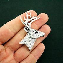 SPK 2 Pcs Deer Pendant Charms Beads Antique Silver Tone Large Sized Stag... - $7.60
