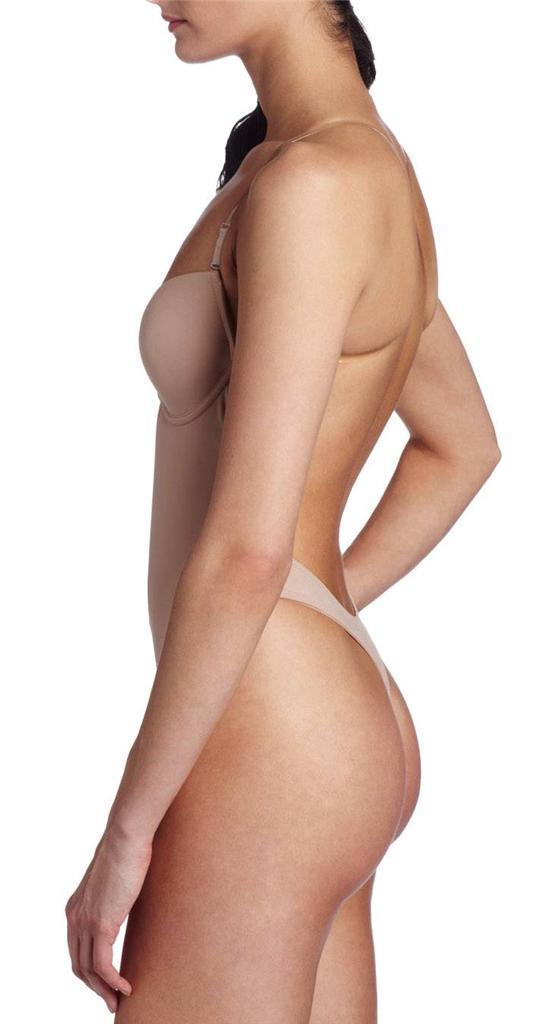 NEW JUNIOR'S FULLNESS LOW CUT THONG BODYSUIT BACKLESS BODY SHAPER BEIGE #9001