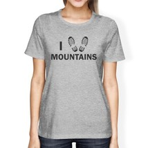 I Heart Mountains Women's Gray Cotton T-Shirt Trendy Graphic Design - $14.99+