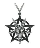 Alchemy Gothic Baphomet Pendant Pentagram Occult Goat Head Deity Necklac... - $26.95