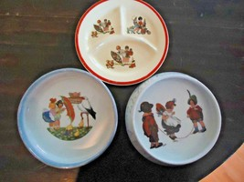 3 Vintage Child's Feeding Dishes 2 German 1 Crown Pottery - $34.65