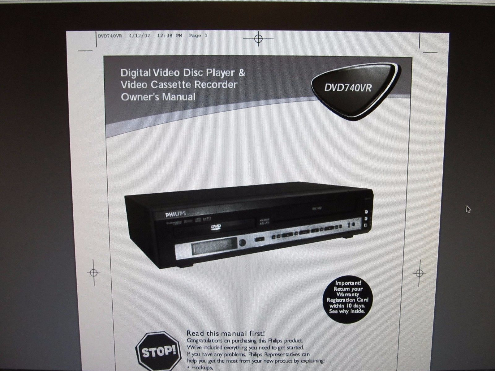 tested w remote philips dvd740vr dvd vcr and 50 similar items rh bonanza com Philips Universal Remote SRP2003 27 Manual Philips Instruction Manuals