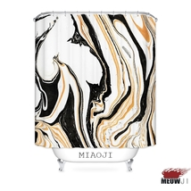 [MIAOJI] Luxury Tonal Art Paint Marble Black Gold Fabric Shower Curtain Multi Si image 2
